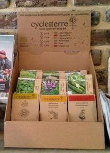 présentoir cycle en terre en carton